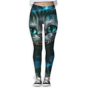 Big Face Cheshir Cat Mujeres de cuerpo entero Yoga Entrenamiento Leggings Delgados Capris