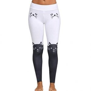 leggins de gato Yoga Pants, Women Leggings Yoga Sport Mid Waist Cat Print Color Block Skinny Pants