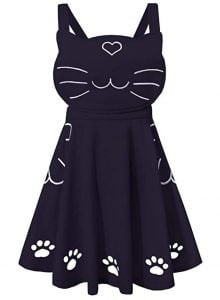 Women's Ajustable Straps Love Heart Cat Face Embroidered Cute Paw Hollow Out Lolita Skirt with Pockets